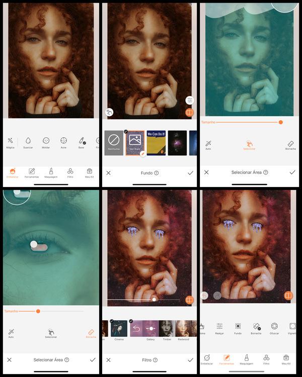 Montagem com 6 fotos da mesma mulher com cabelos cacheados esvoaçantes. Nessa montagem mostra uma edição usando as ferramentas do AirBrush.