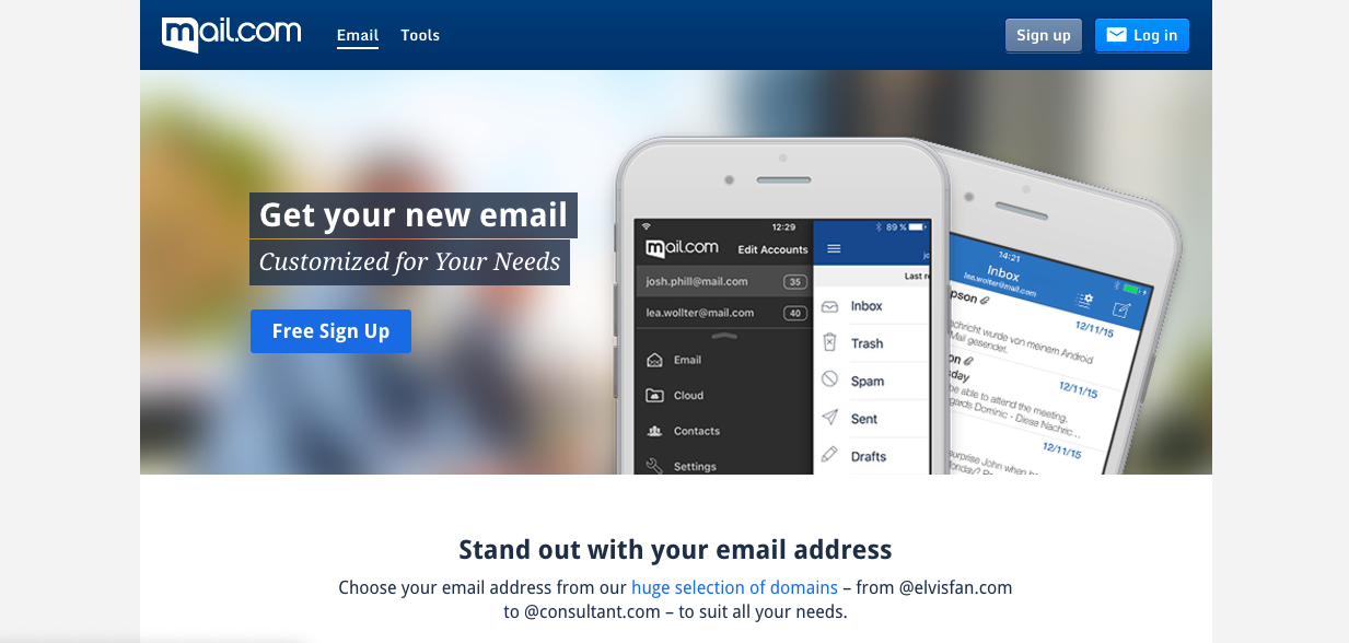 Image of Mail.com landing page prompting you to sign up for free email service