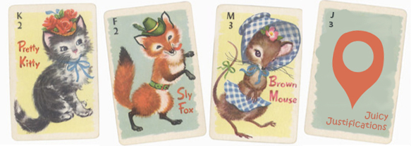 Playing cards with animal illustrations.