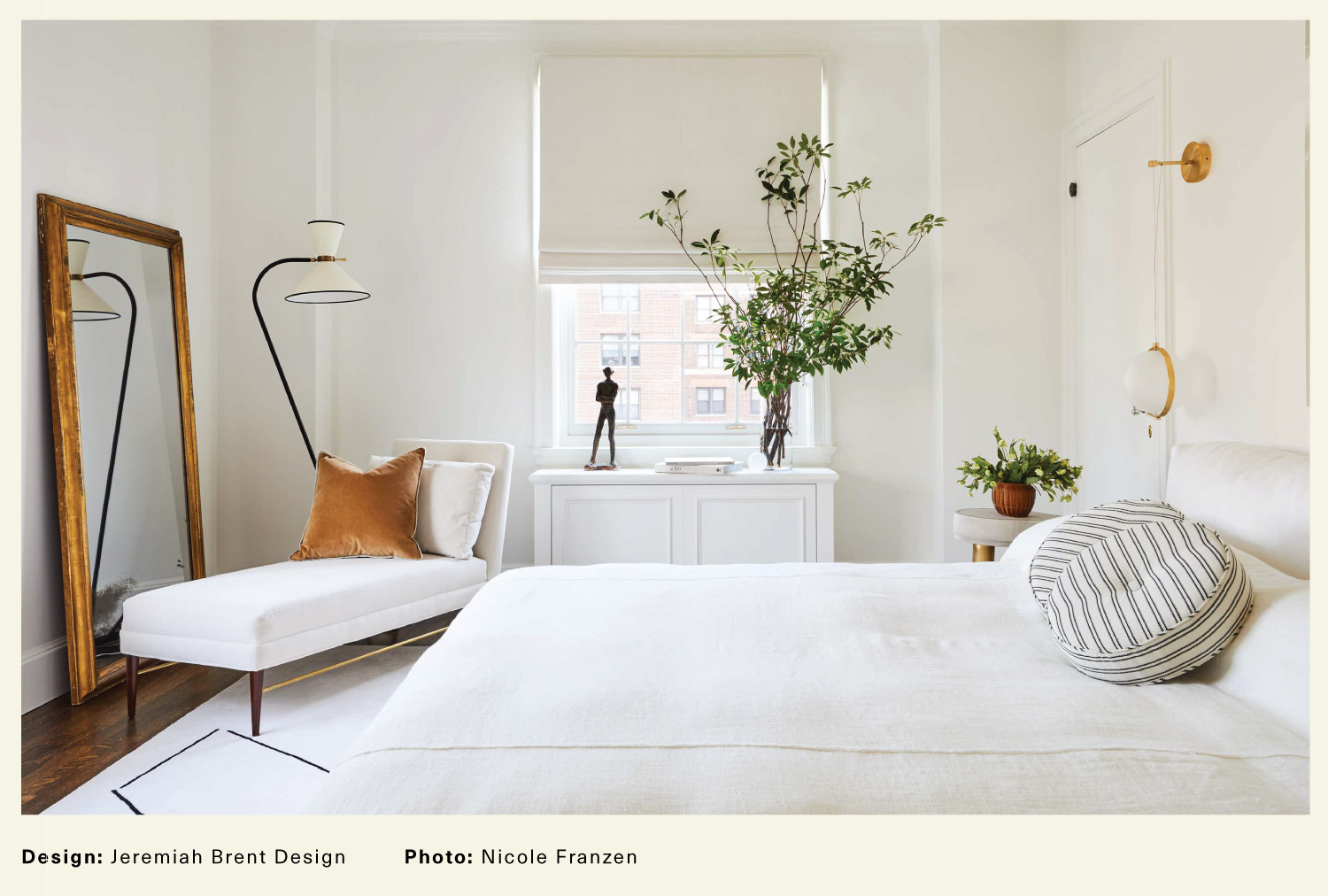 White contemporary bedroom by Jeremiah Brent Design