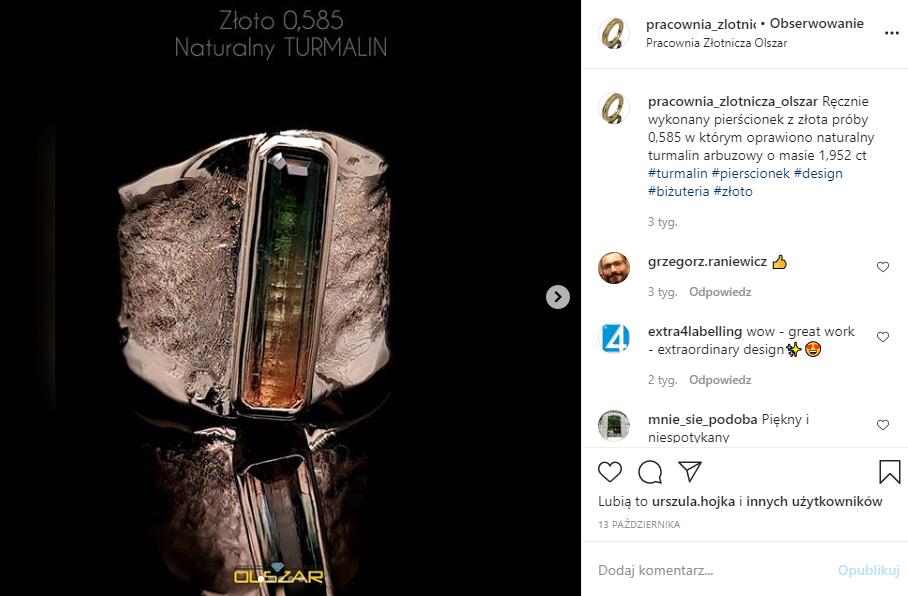 Marketing w branży jubilerskiej - screen posta Pracowni Złotniczej Olszar