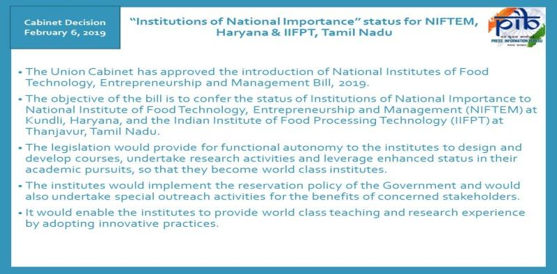 Image result for National Institutes of Food Technology, Entrepreneurship and Management Bill, 2019