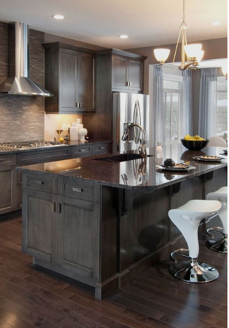 grey stained kitchen cabinets modern rustic style with wood floors large matching island and white barstools