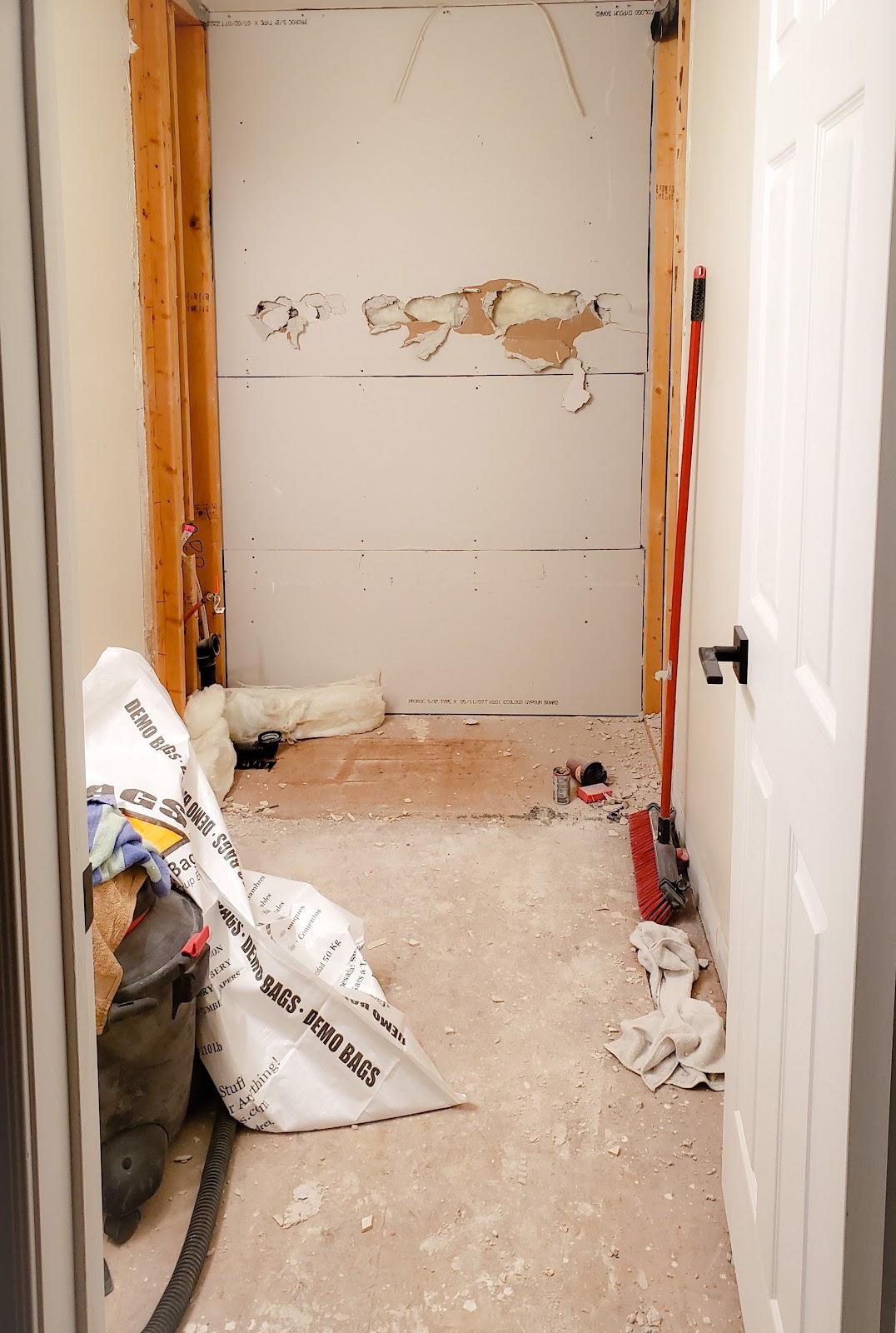 DIY bathroom demolition is complete. Nothing is left