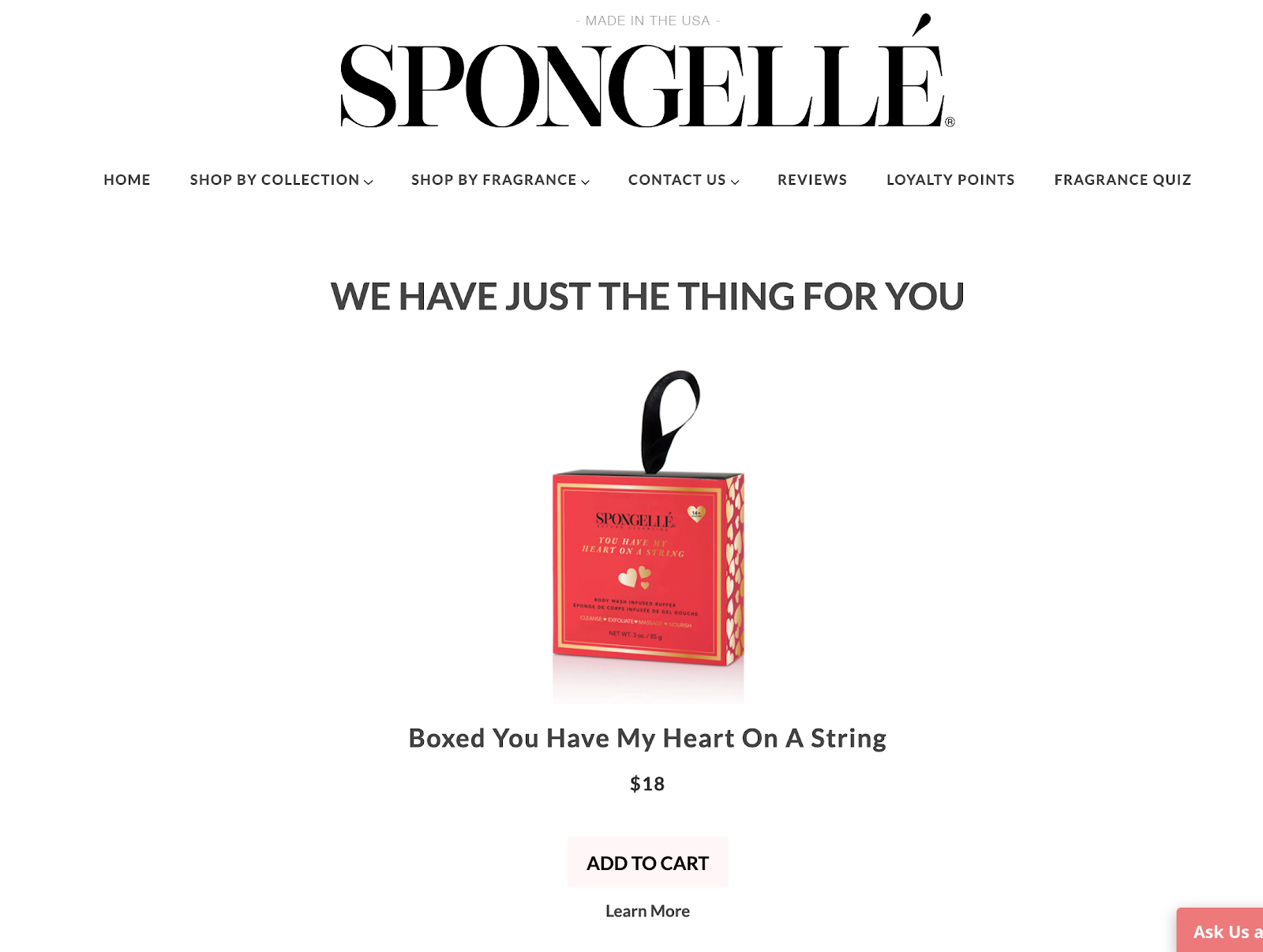 Example of Spongelle's quiz results page