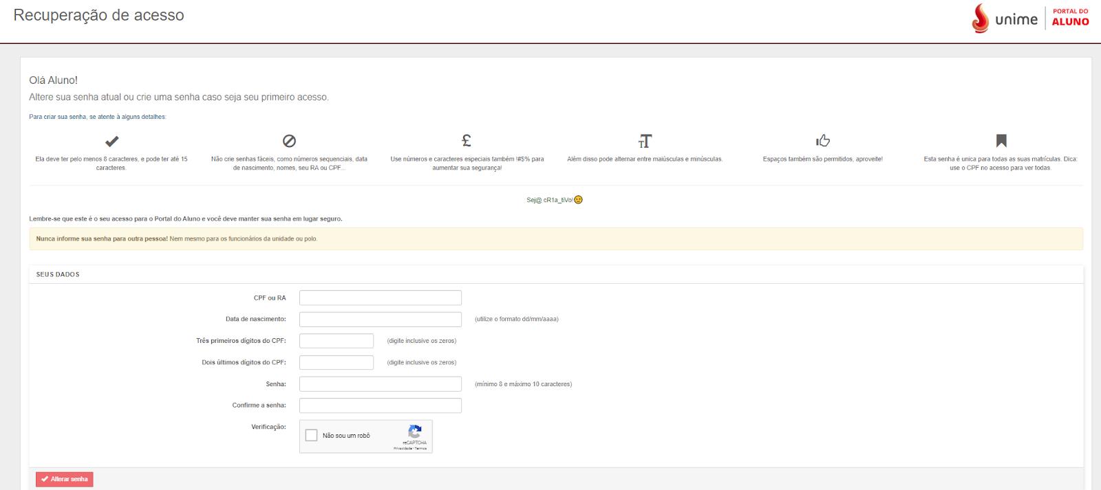 Recuperação de acesso portal do aluno Unime