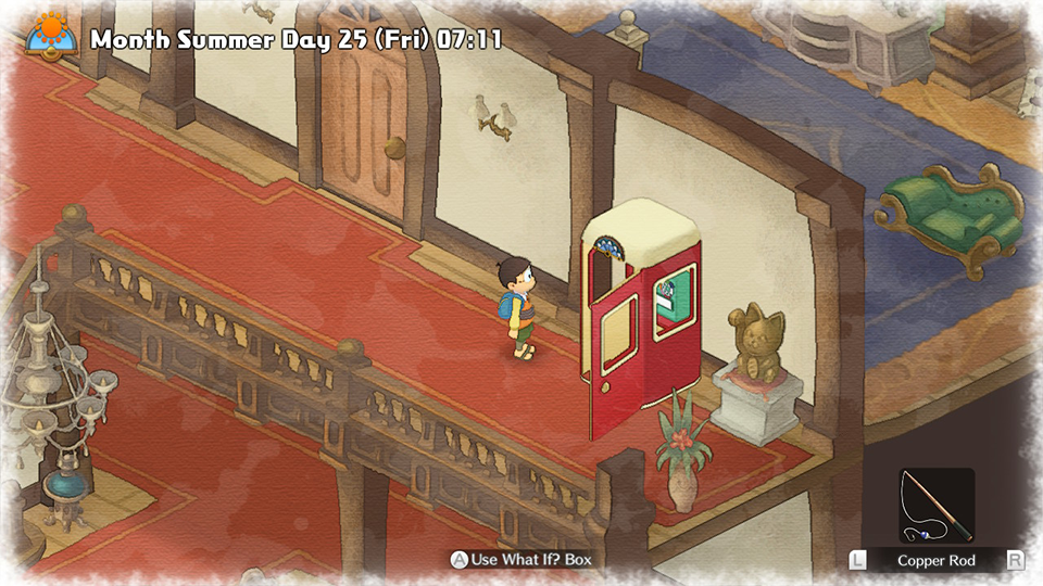 Noby standing in a lavish house, using a red telephone both to access game tutorials.