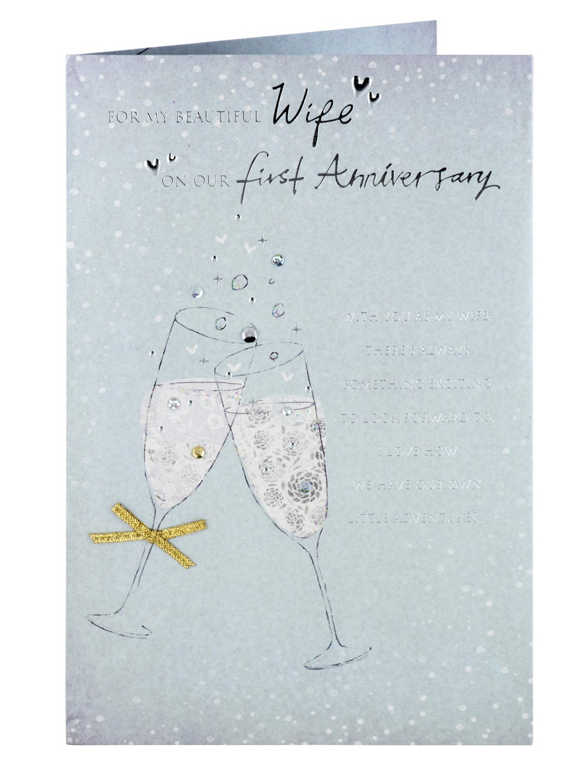First Anniversary Gifts; Clintons Champagne Flutes Wife First Anniversary Card