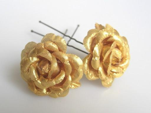 Gold/Silver Hair Flowers