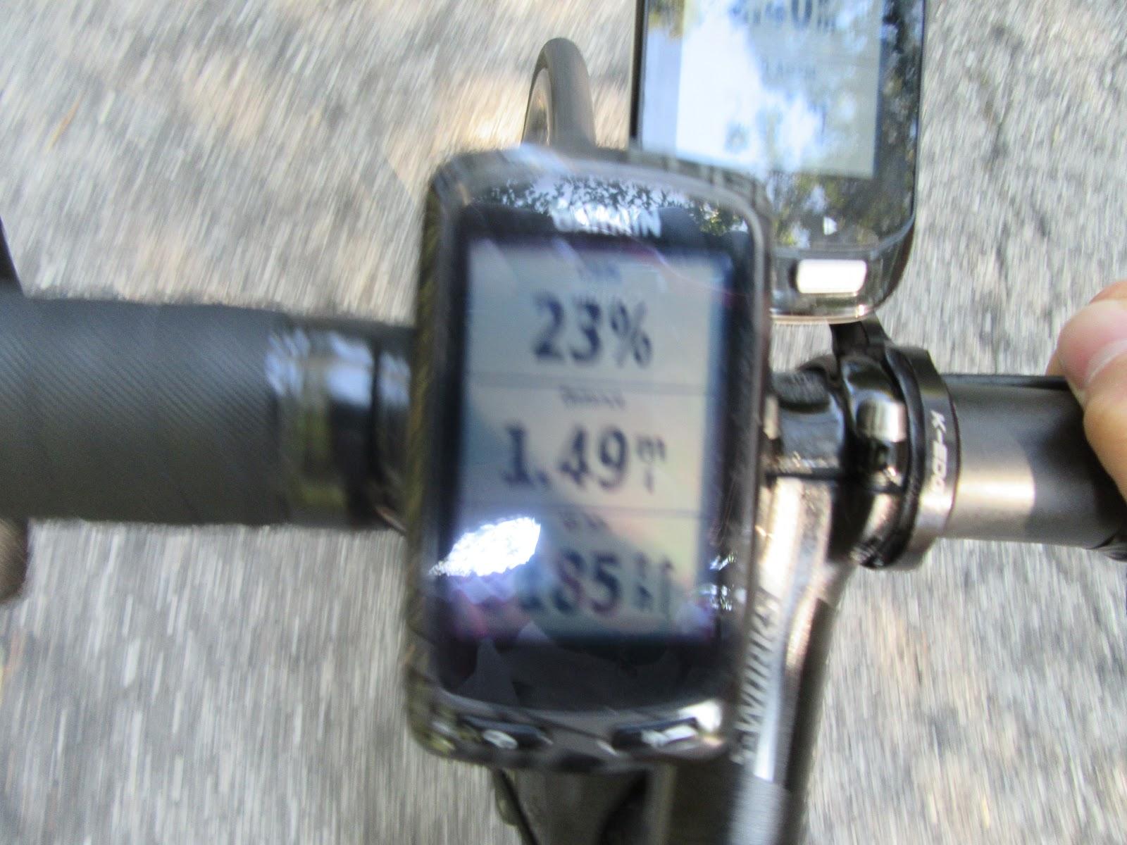 Bike climb of Monte Grappa - Cavaso del Tomba - garmin with 23% grade reading