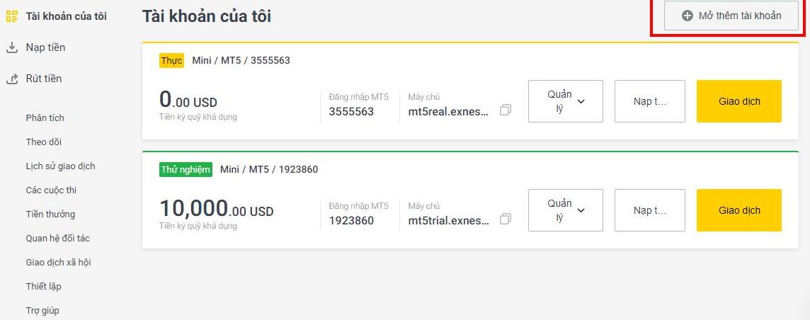 Chỉnh sửa mức đòn bẩy khi mở tài khoản giao dịch MT4 tại sàn Exness