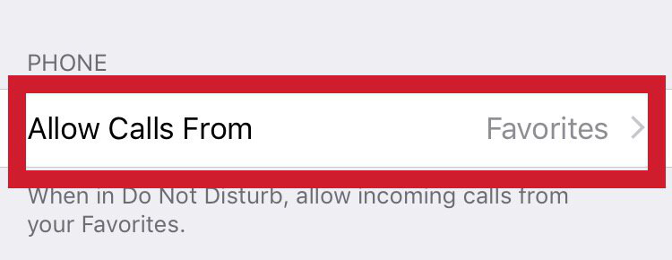 """the """"Allow Calls From"""" function - iPhone"""
