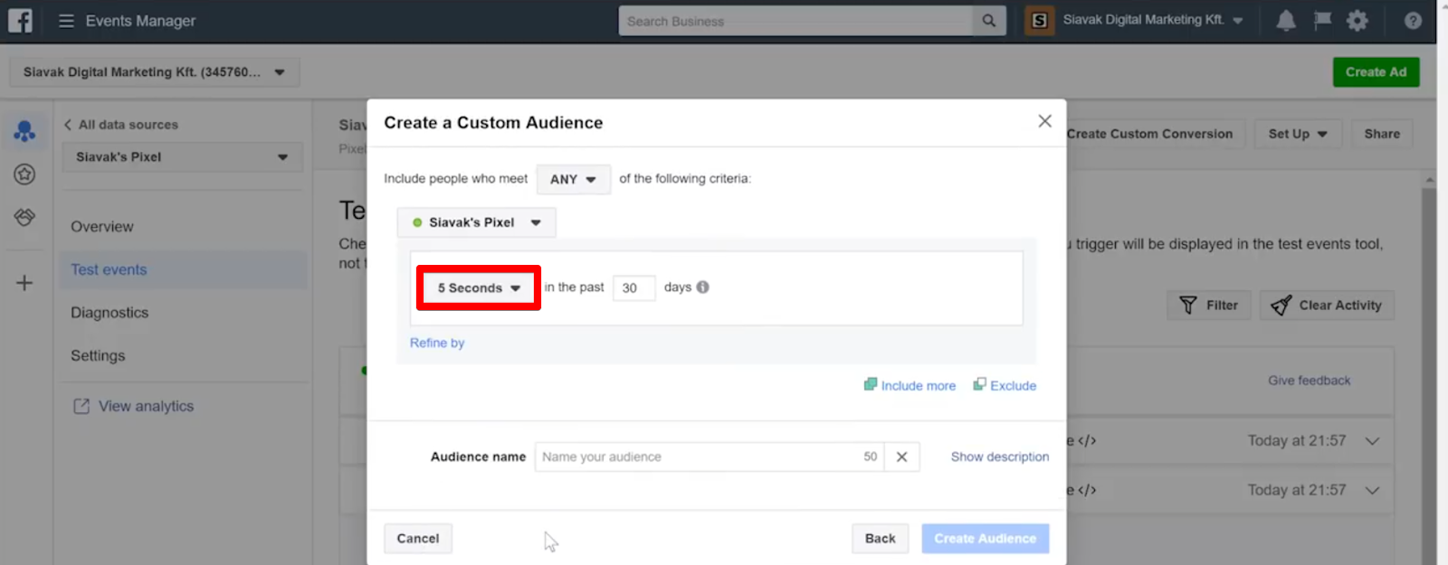 Create an audience of people who have stayed at least five seconds by selecting the 5 Seconds delayed pixel event