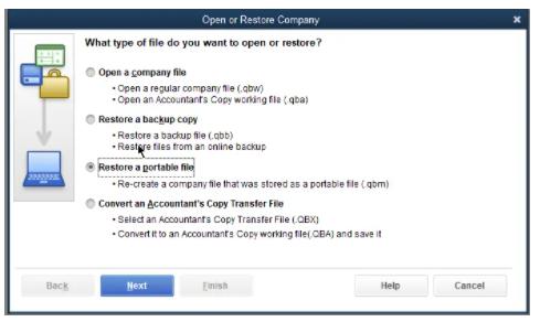 restore a portable file
