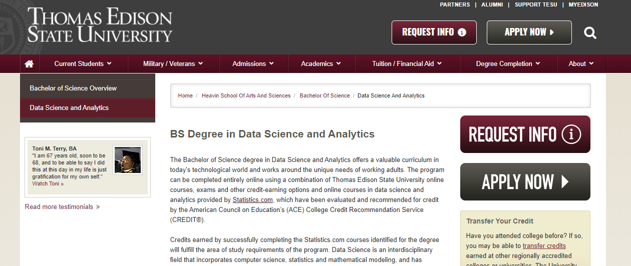 BS Degree in Data Science and Analytics [Thomas Edison State University]