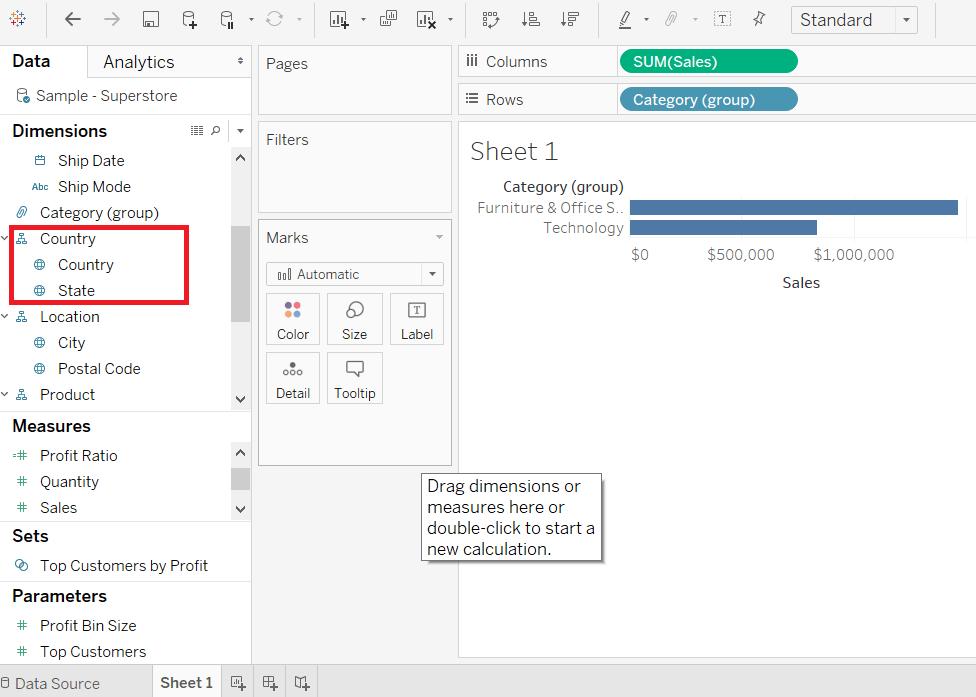 Tableau Build Hierarchy