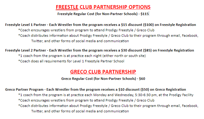 Read the options and choose the best plan for your program, Wrestlers, and YOU!