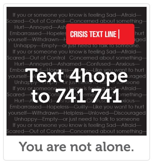 Text 4hope to 741 741
