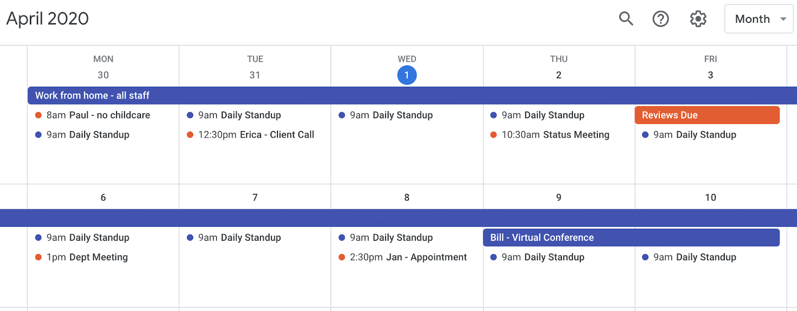 Google calendar with meetings and events