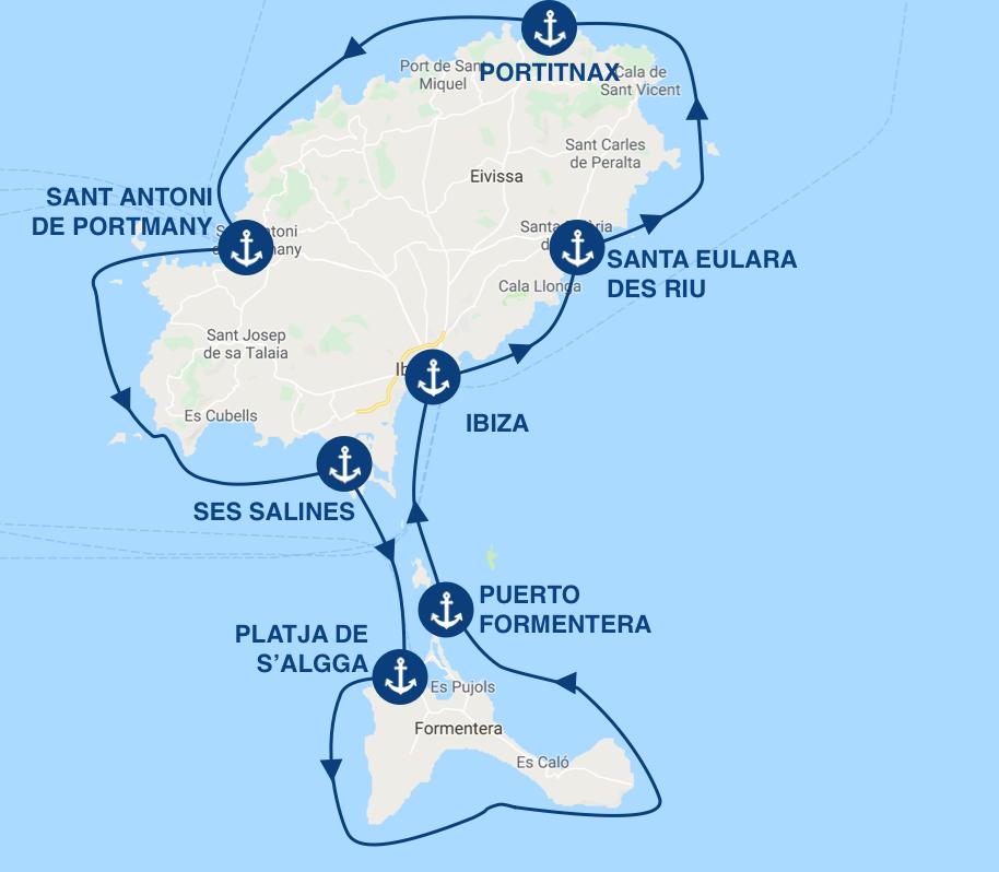 Itinerario para un crucero desde Ibiza