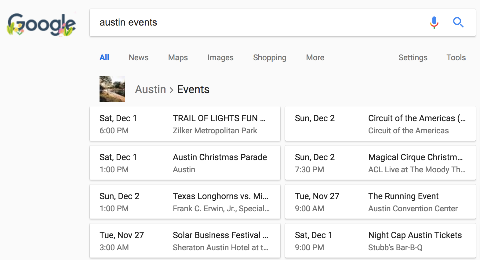 Events schema in search results