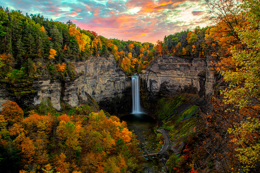 Taughannock Falls, NY with beautiful fall leaves changing colors