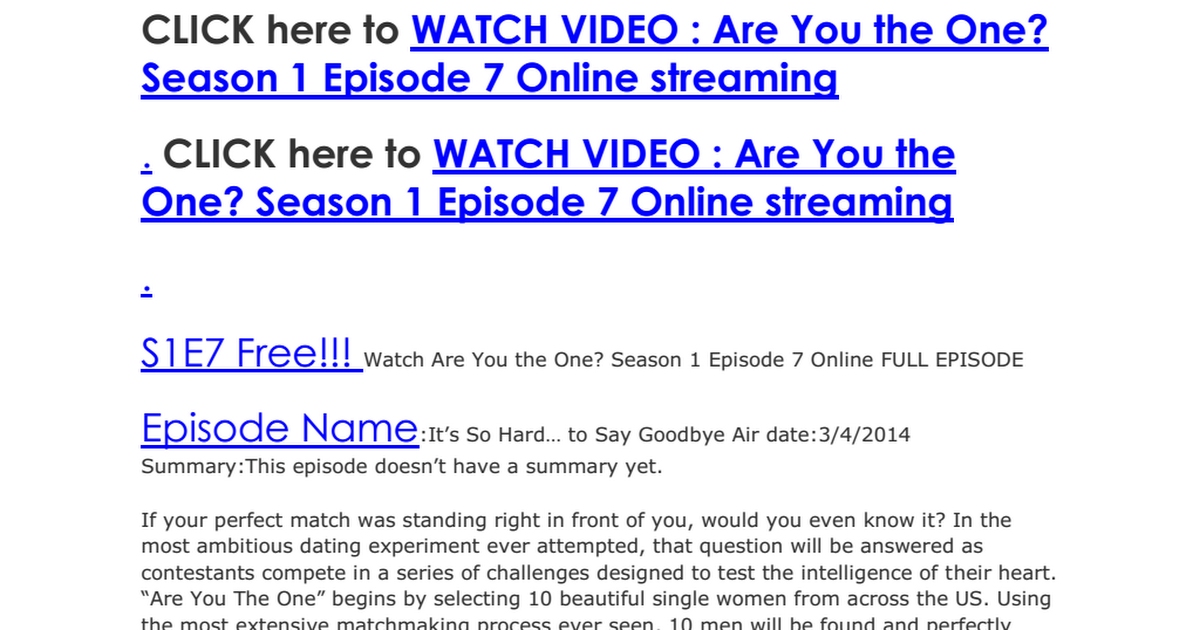 are you the one episode 7 free online