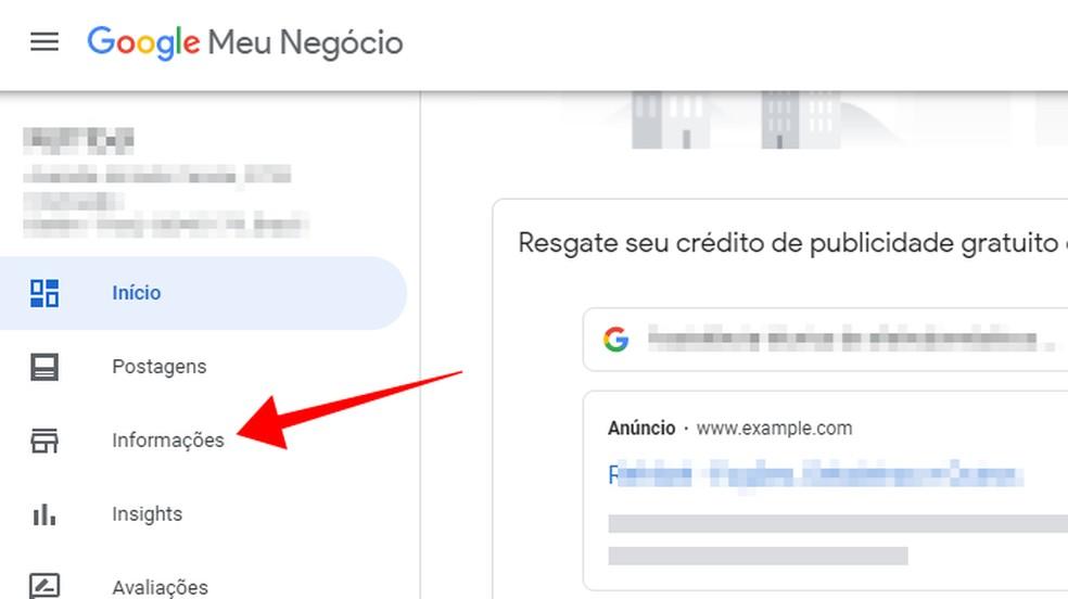 Acesse o menu de informações do Google Meu Negócio — Foto: Reprodução/Paulo Alves