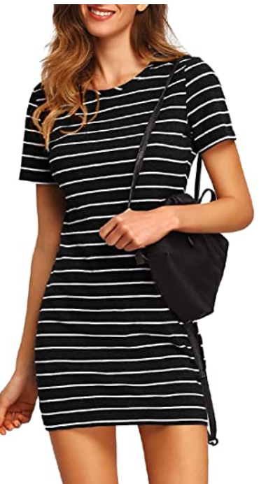 amazon black striped casual summer dresses