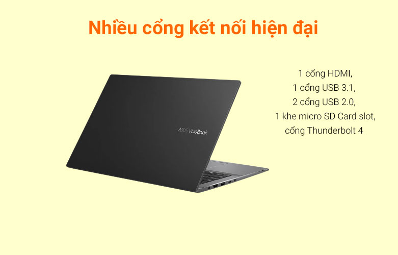 Laptop Asus Vivobook S533EA-BN293T   Đa dạng cổng kết nối