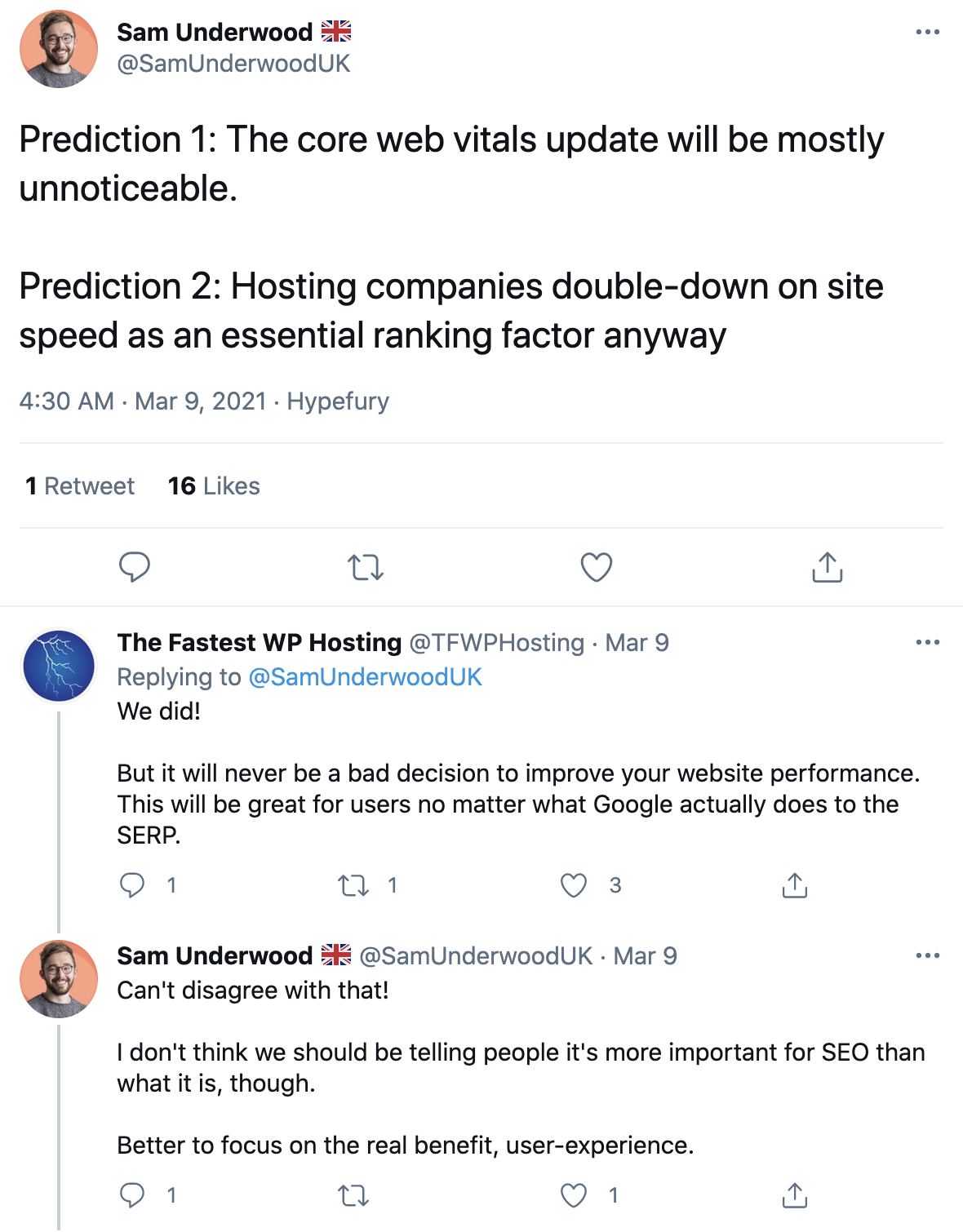 Sam Underwood prediction tweets about the core vitals update.