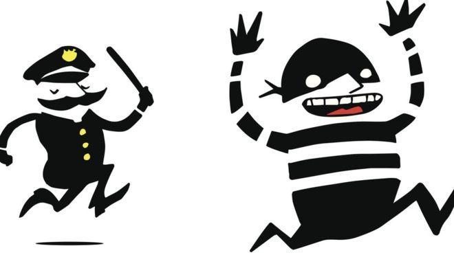 Ilustración de policía y ladrón