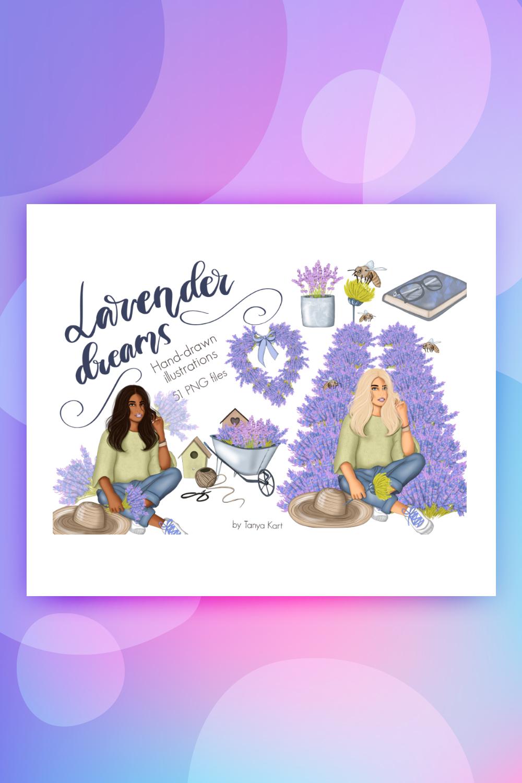 Lavender Dreams Clipart Illustration