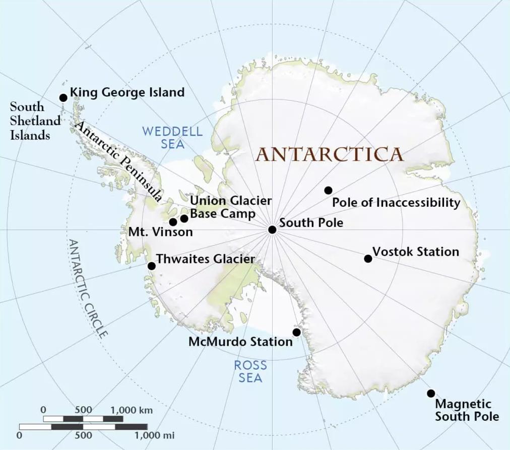 अंटार्कटिका महाद्वीप का नक्शा