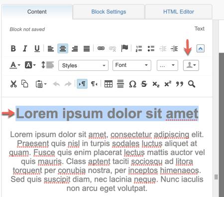 Capture d'écran montrant une flèche rouge indiquant l'icône de profil dans l'éditeur de contenu.