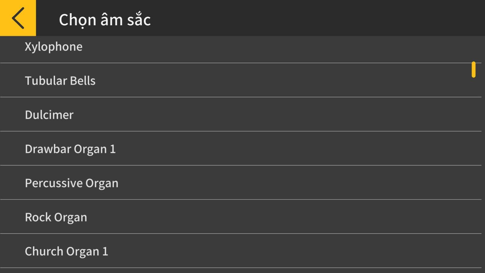 Chordana Play, bạn có thể dễ dàng tìm và chọn cho mình âm sắc yêu thích dựa trên 1 danh sách các tiếng được hiển thị rõ ràng trên màn hình thiết bị di động.