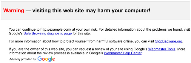 Gmail safer links warning screenshot