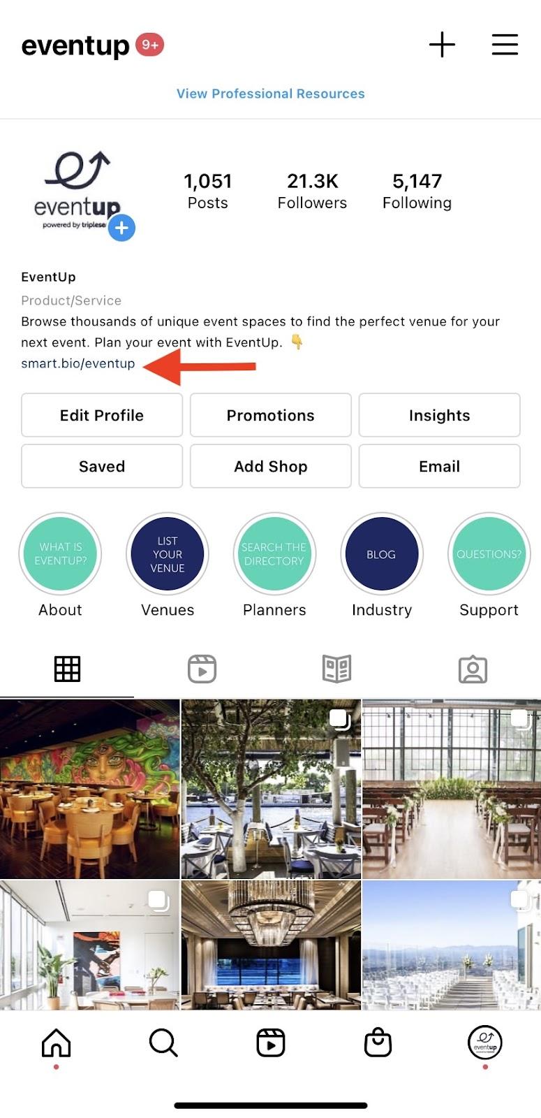 EventUp Link in Bio on Instagram