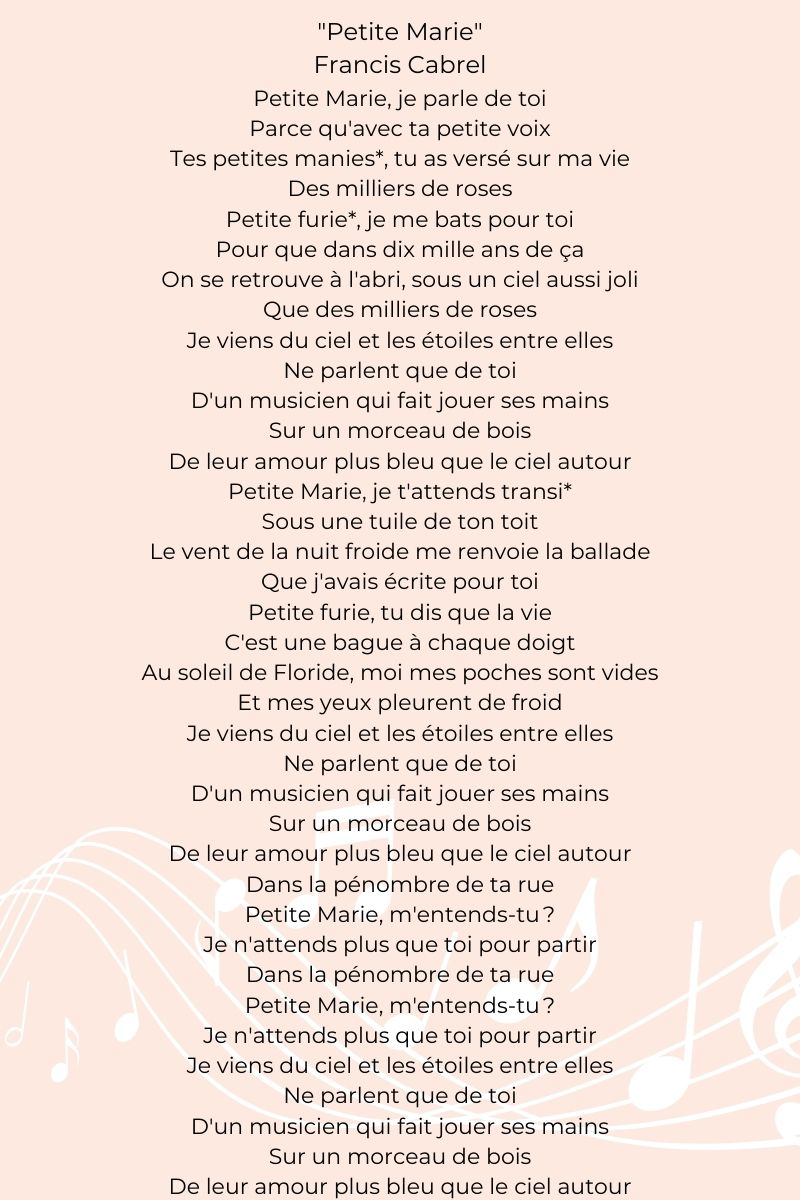 """Zoom on the song """"Petite Marie"""" by Francis Cabrel :"""