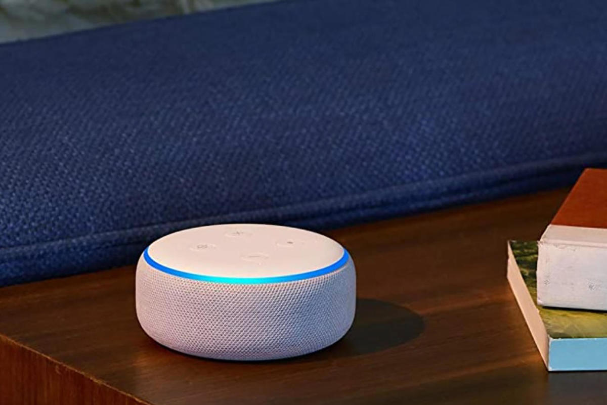 Echo dot on a wood table