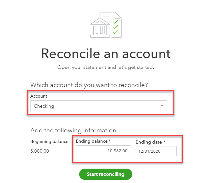 Reconciling your bank account in QBO Bank 3