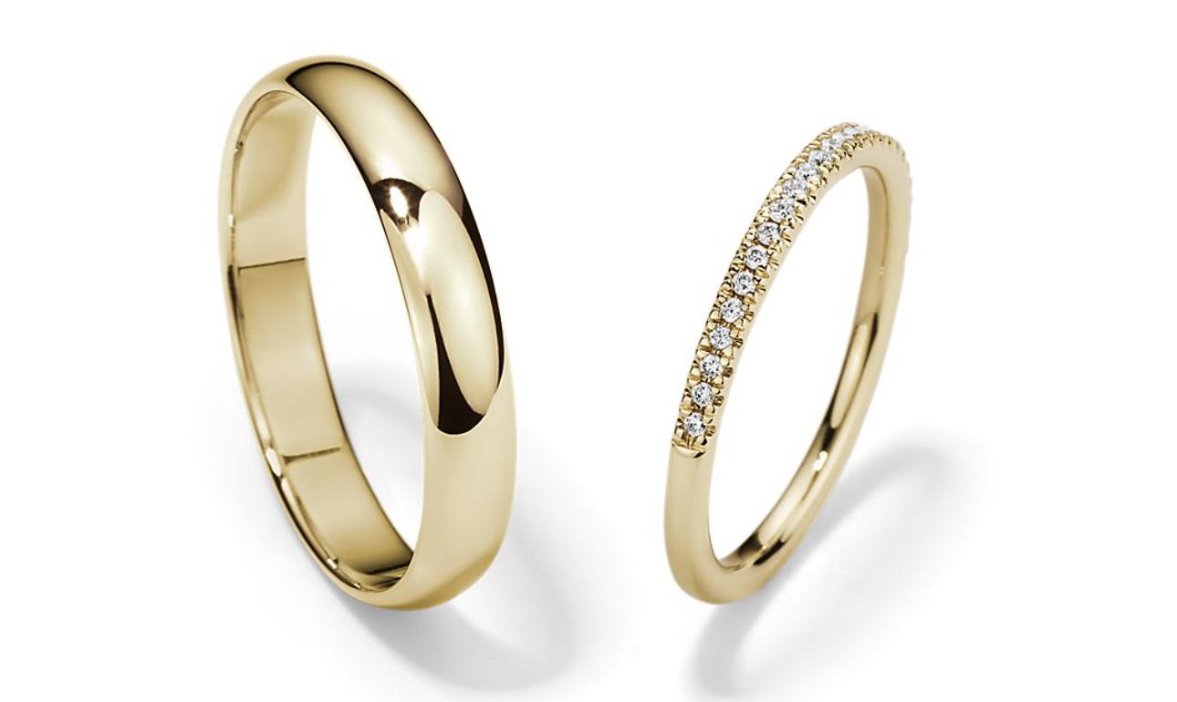 yellow gold wedding ring set