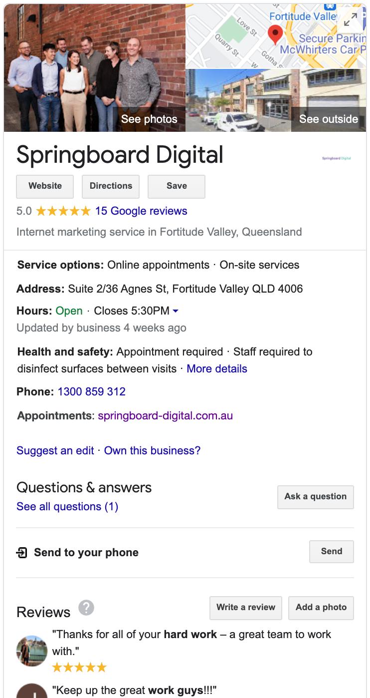 Springboard Digital's Google My Business Profile