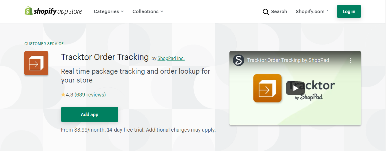 tracktor shopify app screenshot