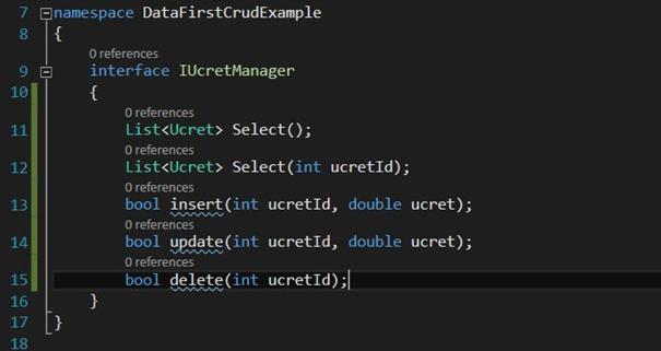IUcretManager interface