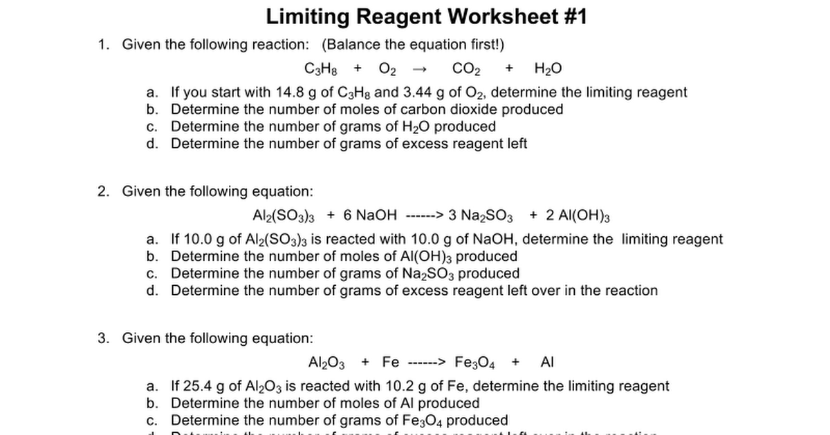 Printables Limiting Reagent Worksheet limiting reactant worksheet 1 intrepidpath reagent worksheets 2 google docs