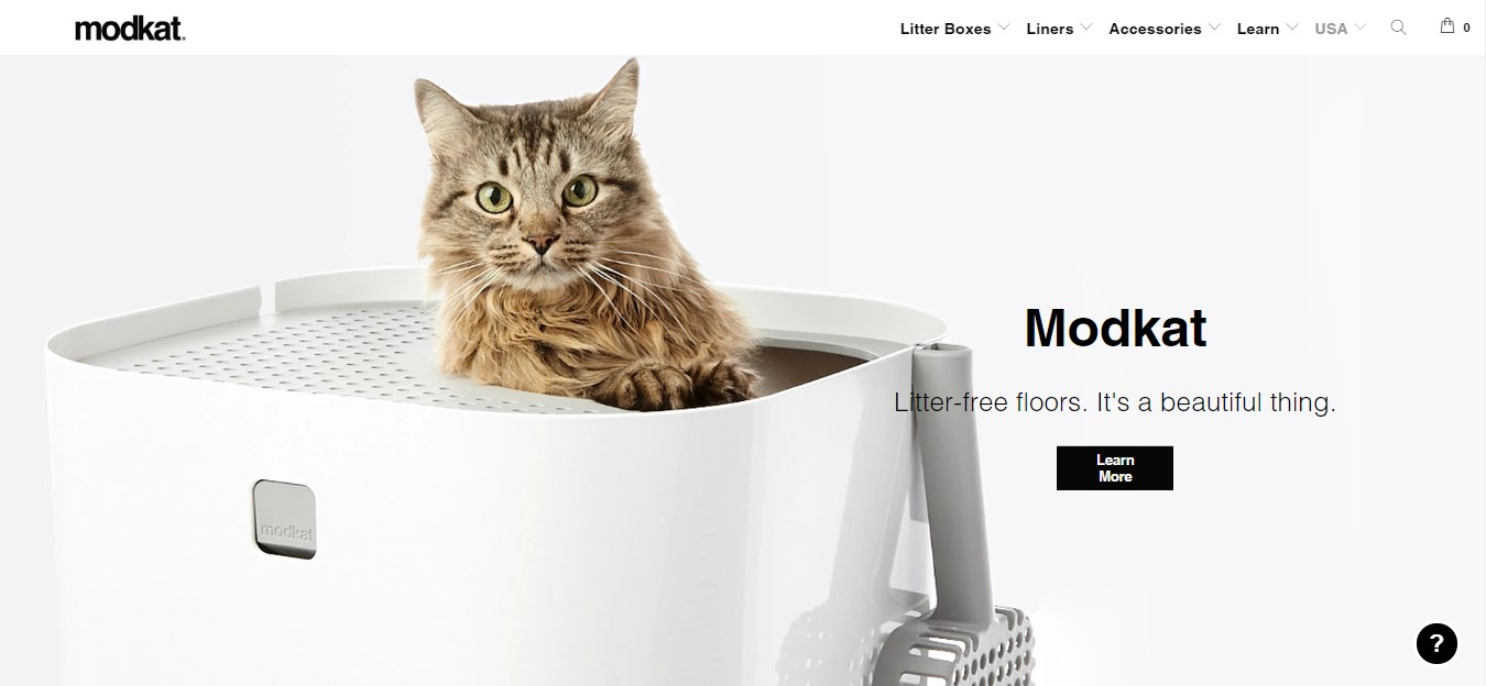 Modko's landing page - cat in a litter box