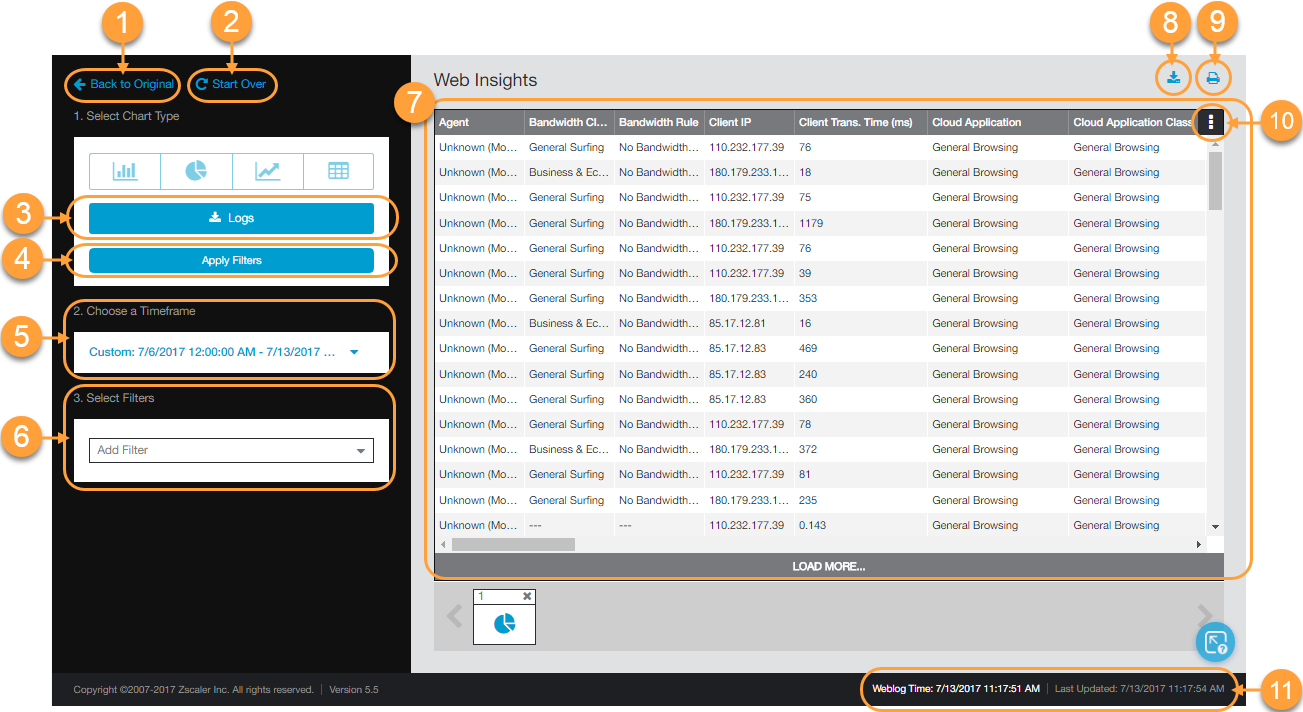 Screenshot of the Zscaler Web Logs page and tasks