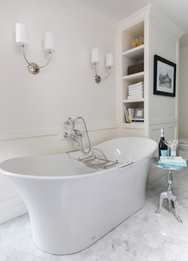 Tub: Fresh, traditional master suite design and renovation by Calgary firm, LeAnne Bunnell Interiors.