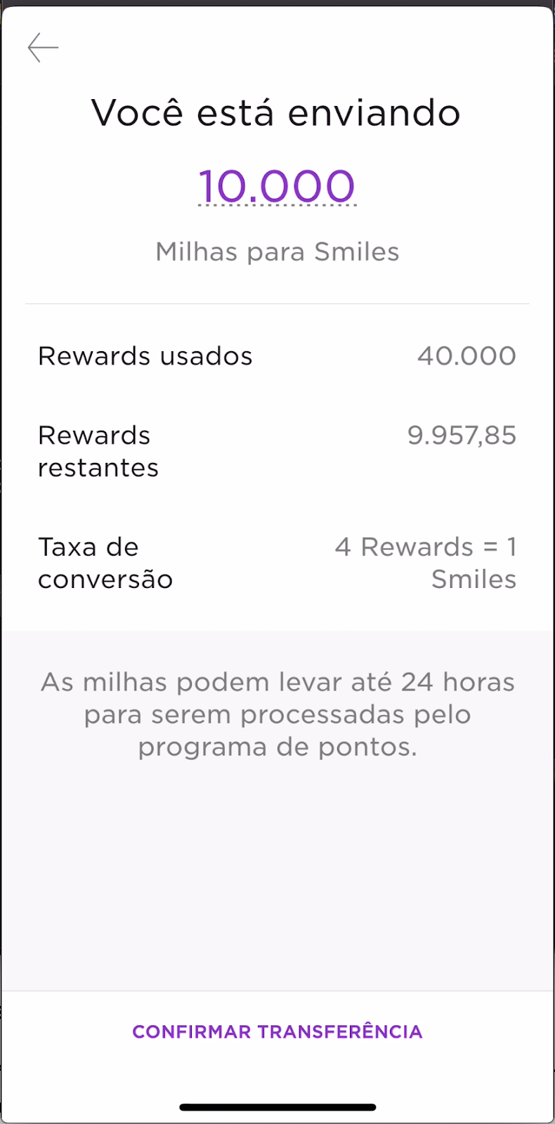 Confirmation screen for mileage points transfer flow in the Rewards program built in Flutter